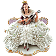 Large Dresden Lace Woman Playing Instrument Ackermann & Fritz