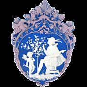Tricolor German Jasperware Jasper Ware Plaque of Cupid with Serenading Troubadour