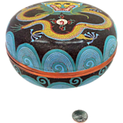 "REDUCED 8"" Chinese Cloisonne Dragon Box Chasing The Pearl of Wisdom - Extremely Large"