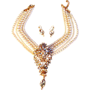SALE Faux Pearl and Faux Diamond Show Stopper Necklace and Earrings