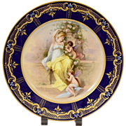 "Large 10 1/4"" Royal Vienna Hand Painted Plate with Woman and Angels"