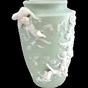 If only it was Perfect!! Gorgeous Volkstedt 8 Cherub Jasper Ware Vase