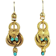 SALE Antique 15K Gold Etruscan Revival Dangle Drop Earrings with Turquoise