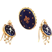 SALE EXCEPTIONAL 14K and Cobalt Blue Enamel with Fleur de Lis and Stars Earrings and Ring