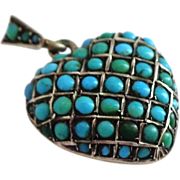 SALE OUTSTANDING Antique Puffy Heart Sterling Silver Pavé Turquoise Locket Pendant or Charm