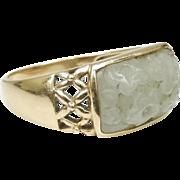 SALE 14K Gold Size 10 Carved Jade Ring
