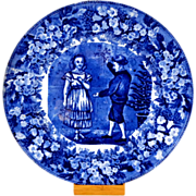 Antique Wedgwood Month of December Flow Blue Plate