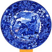 Antique Wedgwood Month of March Flow Blue Plate