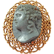 SALE High Relief 14K Gold and Lava Pin or Pendant Cameo