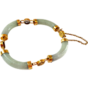 SALE Lovely 14K Gold and Jade Bracelet