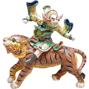 Ferocious Chinese Roof Tile Warrior atop a Fantasy Tiger