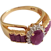 SALE 10K Gold Ruby and Diamond Ring Sz 8