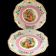 Pair of RARE Schumann Pierced Plates with Romantic Scenes