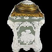 Rare Antique S&V Jasper Ware Romantic Tea Caddy Cameo Top with Ormulu