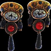 Dangle Earrings for Pierced Ears - Deep Blue Stone and Carnelian