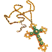 "Very Large 3 1/2"" Long Jewelled Cross - Costume Piece"