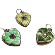 SALE Group of 3 Puffy Heart Pansy Charms Enamel on Sterling Silver