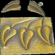 SALE Classical Rebajes Modernist Copper Brooch and Earring Set
