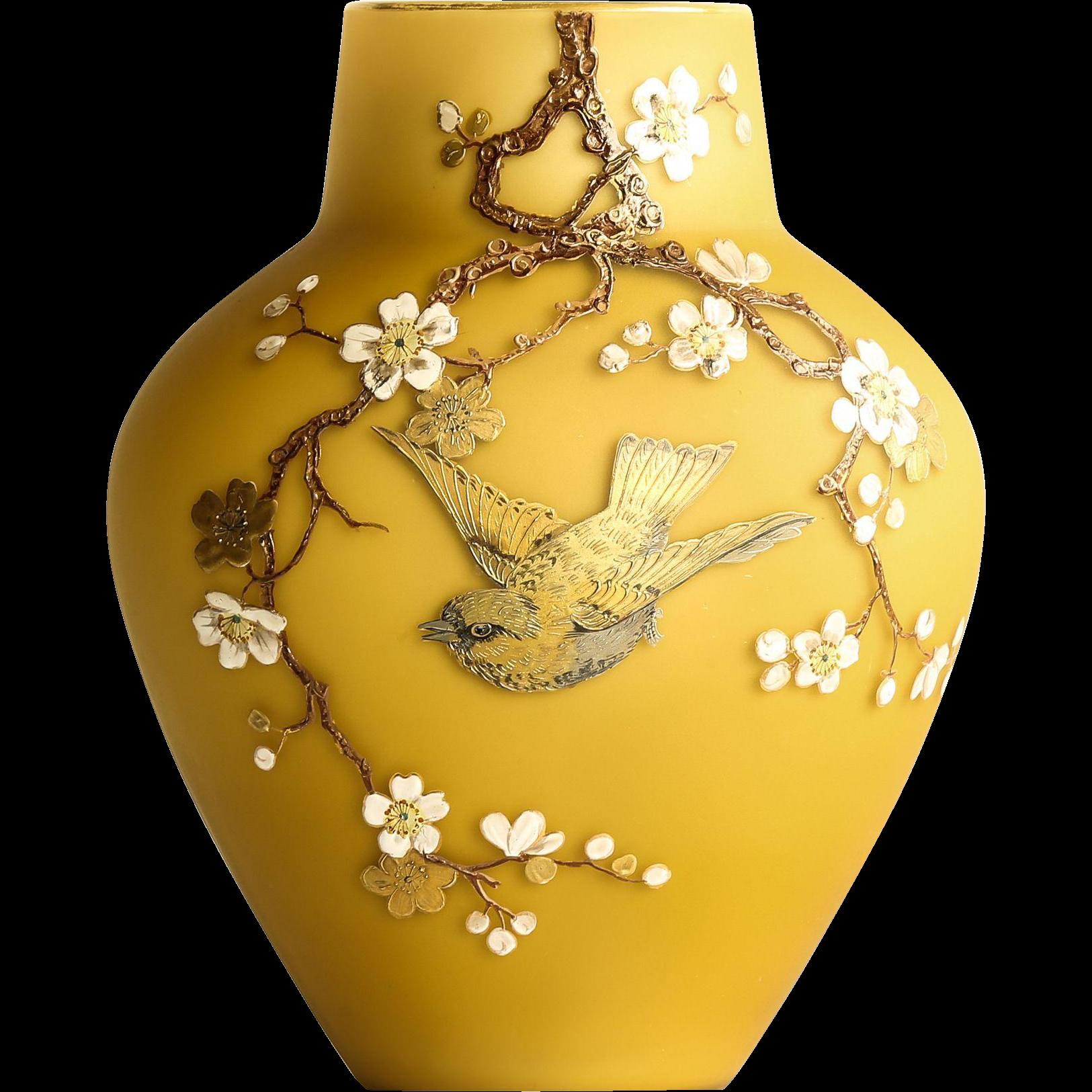 Beautiful Circa 1880 Harrach Victorian Satin Glass Vase With Enameled Bird & Floral Motif