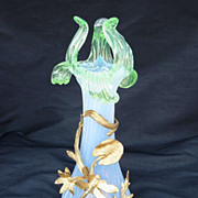 Rare Circa 1890 Art Nouveau Opalescent Vase With Dragonfly