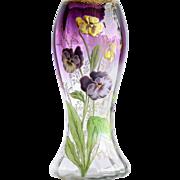 Circa 1910 Antique Enameled Mont Joye Vase With Pansy Motif