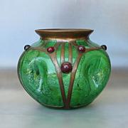 Rare Circa 1890 Kralik Jeweled Bronze Armature Vase