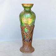 Circa 1890 Art Nouveau Kralik Vase In Bronze Armature