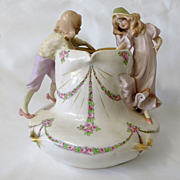Circa 1900 Amphora Bowl With Figural Children
