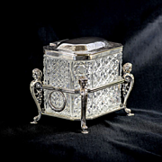 Magnificent Vintage Cutglass Box In Ornate Figural Silver Holder