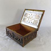 Circa 1890 Art Nouveau Bronze Scenic Humidor Box