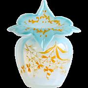 Vintage Moser Blue Opalescent Jack-In-The-Pulpit Vase