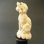 Antique Victorian Carved  Dog With Bird