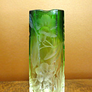 SOLD Vintage Moser Clear To Green Heavily Intaglio Cut Vase