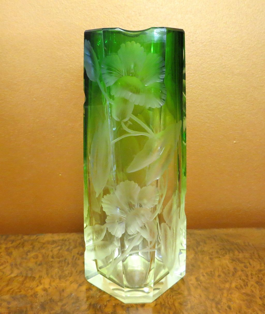 Vintage Moser Clear To Green Heavily Intaglio Cut Vase