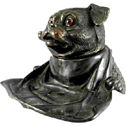 Signed Jennings Bros. Victorian Inkwell In The Form Of An English Pug Dog