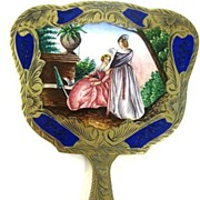 Rare Vintage  Italian  Gold  Dore  Sterling  Silver  Enameled  Miniature  Hand  Mirror