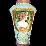 Circa 1900 Artist Signed Coralene Portrait Vase