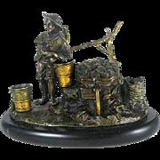 Circa  1880  Victorian  Figural  Bronze  Inkwell