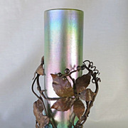 Circa 1890 Loetz Vase In Bronze Holly Motif Armature