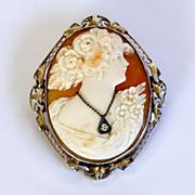 Circa 1910 Art Nouveau 14K Diamond Cameo Brooch / Pendant