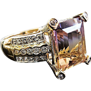 Lady's 14K Ametrine and Diamond Ring