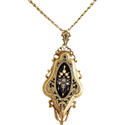 Antique Victorian 18K Enamel, Seed Pearl & Rose Cut Diamond Locket & Chain