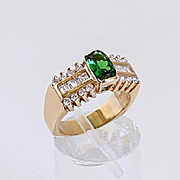 Lady's Custom Vintage 14K Chrome Diopside & Diamond Ring