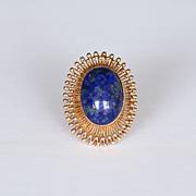 Lady's 14K Vintage Art Deco Lapis Ring