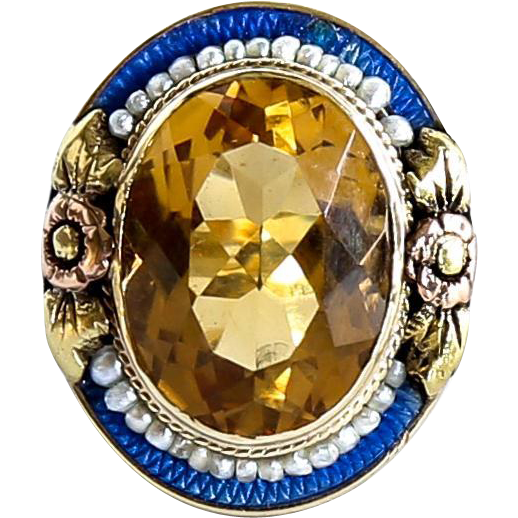 Lady's Tri-Colored 14K Enameled Citrine Ring With Cultured  Seed Pearls