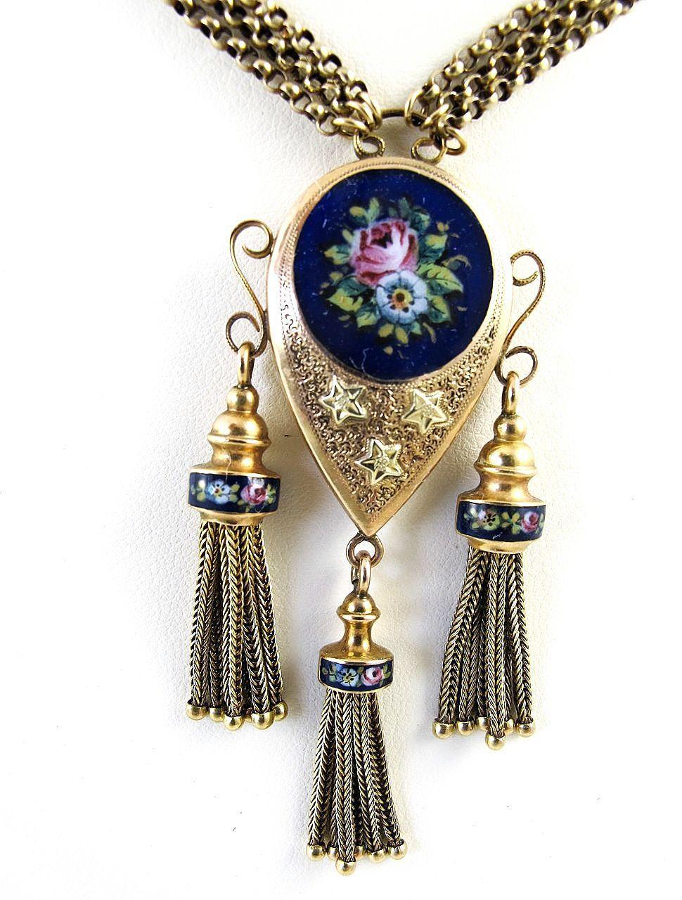 Magnificent Circa 1900 Antique Enameled 14K Necklace