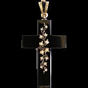 Circa 1880 Antique 15K Black Onyx & Pearl Cross