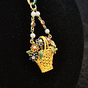 Exquisite Lady's 18K Enameled Basket Of Flowers Pendant