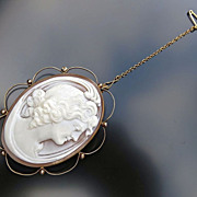 Art Nouveau Era 15K English Rose Gold Cameo Brooch