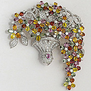 Magnificent Lady's 18K Diamond & Colored Sapphire Floral Brooch